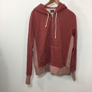 J. Crew Men's muse fleece zip up hoodie red medium